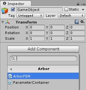 ArborFSMの追加(Add Componentから)